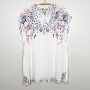 JOHNNY WAS Hayden Tunic XL White Embroidered New